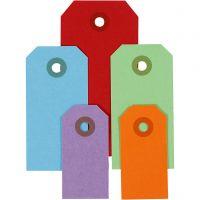 Etiquettes cadeaux, dim. 3x6+4x8+5x10 cm, 220 gr, couleurs assorties, 500 pièce/ 1 Pq.