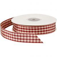Ruban vichy, L: 20 mm, rouge/blanc antique, 25 m/ 1 rouleau