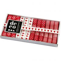 Rubans décoratifs, L: 10 mm, harmonie rouge/blanc, 12x1 m/ 1 Pq.