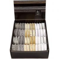 Rubans décoratifs, L: 5-10 mm, or, argent, blanc, 48x2 m/ 1 Pq.