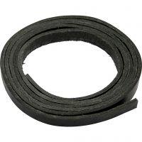 Bande de cuir, L: 10 mm, ép. 3 mm, noir, 2 m/ 1 Pq.