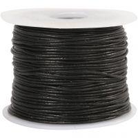 Cordon de cuir, ép. 1 mm, noir, 50 m/ 1 rouleau