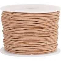 Cordon de cuir, ép. 1 mm, beige, 50 m/ 1 rouleau