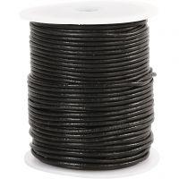 Cordon de cuir, ép. 2 mm, noir, 50 m/ 1 rouleau