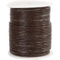 Cordon de cuir, ép. 2 mm, brun, 50 m/ 1 rouleau