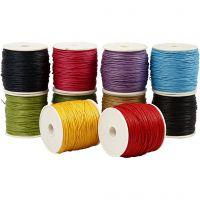 Ficelle de coton, ép. 1 mm, Couleurs vives, 10x50 m/ 1 Pq.