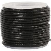 Cordon de cuir, ép. 1 mm, noir, 10 m/ 1 rouleau