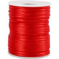 Cordon en satin, ép. 2 mm, rouge, 50 m/ 1 rouleau