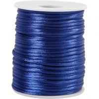 Cordon en satin, ép. 2 mm, bleu foncé, 50 m/ 1 rouleau