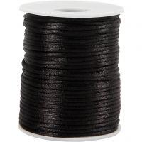 Cordon en satin, ép. 2 mm, noir, 50 m/ 1 rouleau