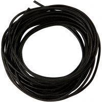 Cordon de cuir, ép. 2 mm, noir, 4 m/ 1 rouleau