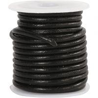 Cordon de cuir, ép. 3 mm, noir, 5 m/ 1 rouleau