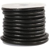 Cordon de cuir, ép. 4 mm, noir, 5 m/ 1 rouleau