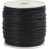 Ficelle de coton, ép. 1 mm, noir, 40 m/ 1 rouleau