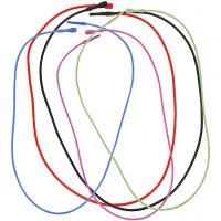 Colliers élastiques, L: 46 cm, ép. 1,65 mm, couleurs assorties, 5 ass./ 1 Pq.