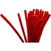 Fil chenille, L: 30 cm, ép. 9 mm, rouge, 25 pièce/ 1 Pq.
