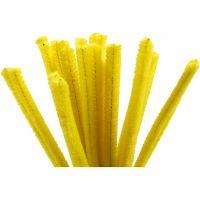 Fil chenille, L: 30 cm, ép. 9 mm, jaune, 25 pièce/ 1 Pq.