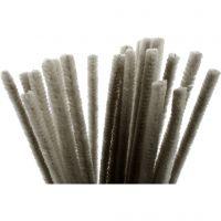Fil chenille, L: 30 cm, ép. 9 mm, gris, 25 pièce/ 1 Pq.