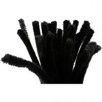 Fil chenille, L: 30 cm, ép. 9 mm, noir, 25 pièce/ 1 Pq.
