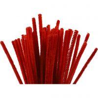 Fil chenille, L: 30 cm, ép. 6 mm, rouge, 50 pièce/ 1 Pq.
