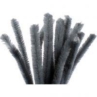 Fil chenille, L: 30 cm, ép. 15 mm, gris, 15 pièce/ 1 Pq.