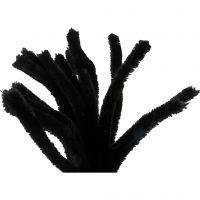 Fil chenille, L: 30 cm, ép. 15 mm, noir, 15 pièce/ 1 Pq.