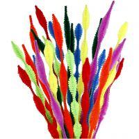 Fil chenille, de vagues, L: 30 cm, ép. 5-12 mm, couleurs assorties, 28 ass./ 1 Pq.