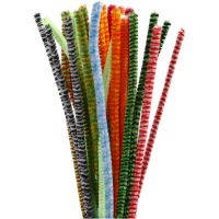 Fil chenille, Assortiment de fils chenille. Petits poils de nylon doux et de qualité fixés, serrés les uns aux autres sur un fil de fer , L: 30 cm, ép. 6 mm, couleurs assorties, 30 ass./ 1 Pq.