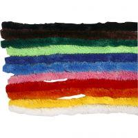 Fil chenille, L: 30 cm, ép. 15 mm, couleurs assorties, 200 ass./ 1 Pq.