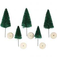 Sapins de Noël, H: 40+60 mm, vert, 5 pièce/ 1 Pq.