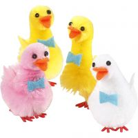 Canards de Pâques, H: 50 mm, rouge clair, blanc, jaune, 4 pièce/ 1 Pq.