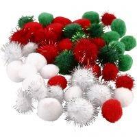 Pompons, d: 15+20 mm, vert, rouge, blanc, 48 ass./ 1 Pq.