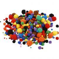 Pompons, d: 5-40 mm, couleurs assorties, 42 gr/ 1 Pq.