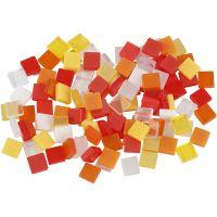 Mini-mosaïques, dim. 5x5 mm, harmonie rouge/orange, 25 gr/ 1 Pq.