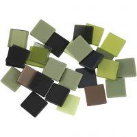 Mini-mosaïques, dim. 10x10 mm, glitter vert, 25 gr/ 1 Pq.