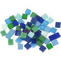 Mini-mosaïques, dim. 5x5 mm, harmonie bleu/vert, 25 gr/ 1 Pq.