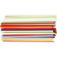 Pailles de construction, L: 12,5 cm, d: 3 mm, couleurs assorties, 3200 pièce/ 1 Pq.