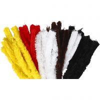 Fil chenille, L: 40 cm, ép. 30 mm, couleurs assorties, 48 pièce/ 1 Pq.