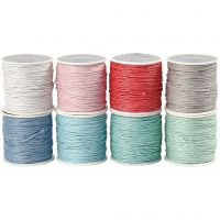 Ficelle de coton, ép. 1 mm, couleurs assorties, 8x40 m/ 1 Pq.