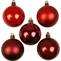 Boules de Noël, d: 6 cm, harmonie de rouges, 20 pièce/ 1 Pq.