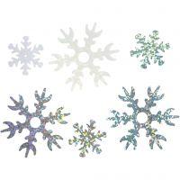 Paillettes, d: 25+45 mm, bleu clair, argent, blanc, 30 gr/ 1 Pq.