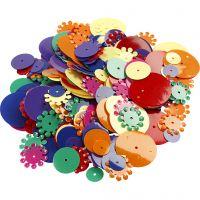 Paillettes, rondes, dim. 10-25 mm, couleurs assorties, 250 gr/ 1 Pq.