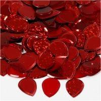 Sequins, goutte de pluie, dim. 14x19 mm, rouge, 50 gr/ 1 Pq.