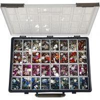 Pierres de strass, d: 6-16 mm, couleurs assorties, 32x360 pièce/ 1 Pq.