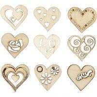 Décorations en bois, love, dim. 28 mm, 45 pièce/ 1 Pq.