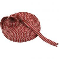 Tricot tubulaire, L: 22 mm, cerise/gris, 10 m/ 1 rouleau