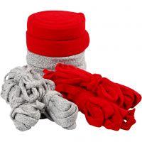Tricot tubulaire, L: 10-40 mm, Le contenu peut varier , gris, rouge, 50 m/ 1 Pq.