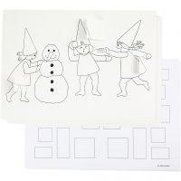 Calendrier de l'Avent décoré de lutins faisant une bataille de boules de neige, A3, 30 pièce/ 1 Pq.