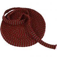 Tricot tubulaire, L: 15 mm, rouge antique/gris, 10 m/ 1 rouleau