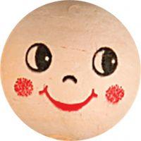 Boules d'ouate avec visages, d: 22 mm, beige clair, 10 pièce/ 1 Pq.
